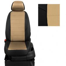 Авточехлы из экокожи на ППУ 5 мм для Hyundai Solaris, черный+бежевый