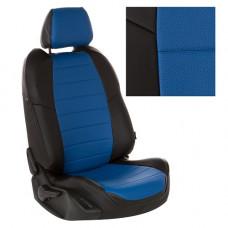 Авточехлы из экокожи на ППУ 5 мм для Renault Logan, черный+синий
