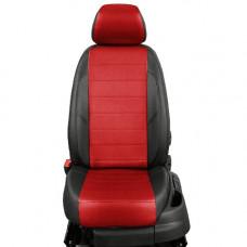 Авточехлы из экокожи на ППУ 5 мм для KIA Rio, черный+красный