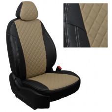 Авточехлы из экокожи ППУ 5мм + ромб для Lada Vesta, черный+бежевый