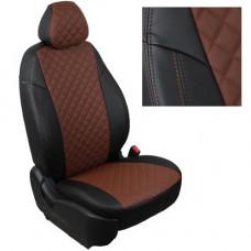 Авточехлы из экокожи ППУ 5мм + ромб для Lada Xray, черный+коричневый