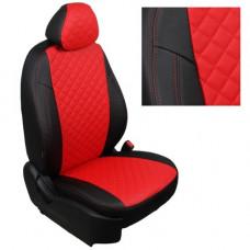 Авточехлы из экокожи ППУ 5мм + ромб для Renault Duster, черный+красный