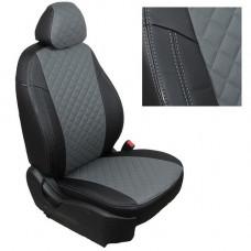 Авточехлы из экокожи ППУ 5мм + ромб для Hyundai Creta, черный+серый