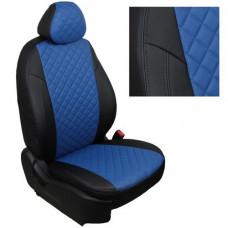 Авточехлы из экокожи ППУ 5мм + ромб для Lada Vesta, черный+синий