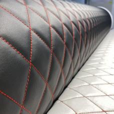 Экокожа стеганая черная гладкая (0,9), 3 стежки красные, ППУ 5 мм+сп (ромб 4,5*4,5 см.)