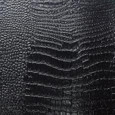 Искусственная кожа, винилискожа крокодил черная глянцевая 0,7 мм (1331-25)